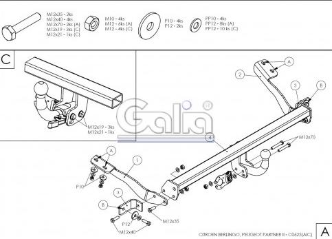 Схема за монтаж на теглич за Citroen