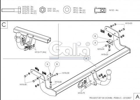 Схема за монтаж на теглич за Peugeot