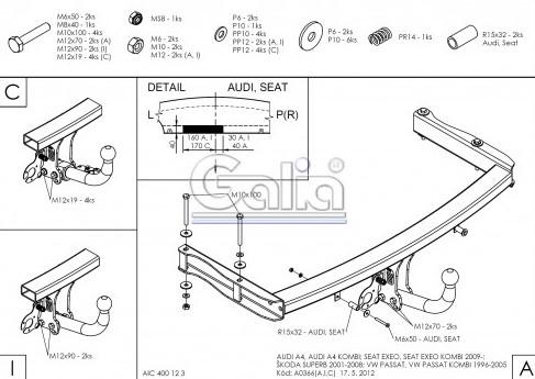 Схема за монтаж на теглич за Audi
