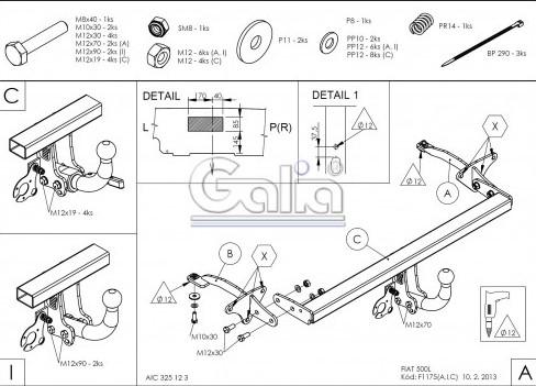 Схема за монтаж на теглич за Fiat