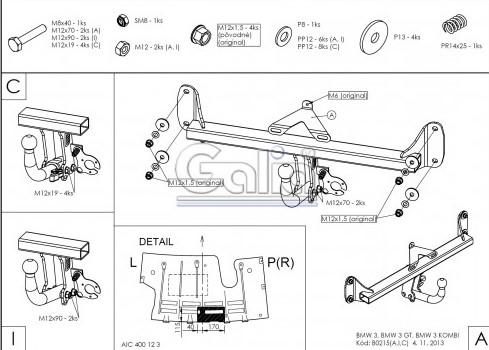 Схема за монтаж на теглич за BMW