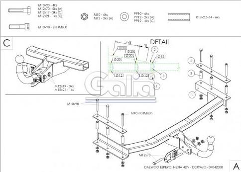 Схема за монтаж на теглич за Dacia