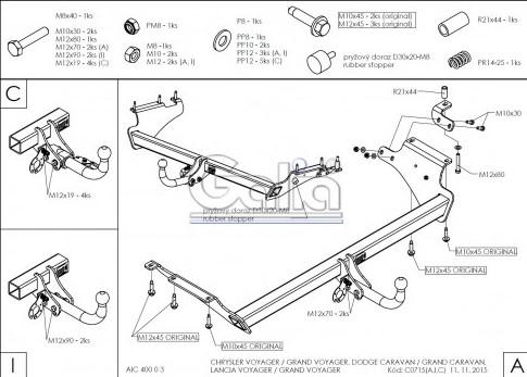 Схема за монтаж на теглич за Chrysler