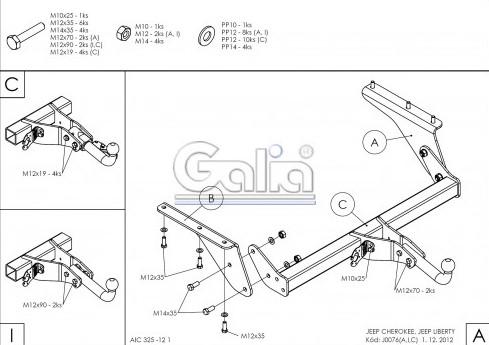Схема за монтаж на теглич за Jeep