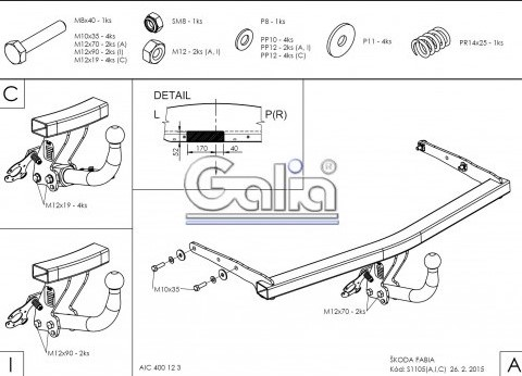 Схема за монтаж на теглич за Skoda