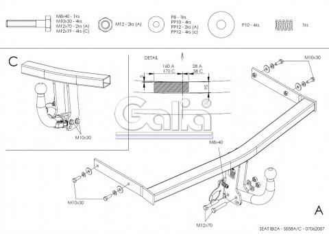 Схема за монтаж на теглич за Seat