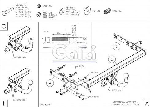 Схема за монтаж на теглич за Ford