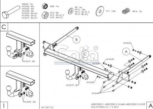 Схема за монтаж на теглич за Mercedes