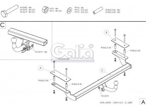 Схема за монтаж на теглич за Opel