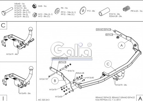 Схема за монтаж на теглич за Renault